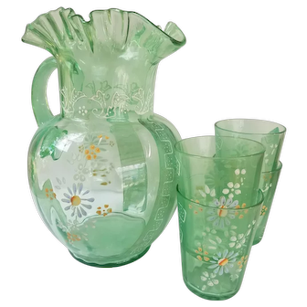 Victorian Lemonade or Water Set, Pitcher and Four Glasses, Excellent Vintage Condition, Hand-painted