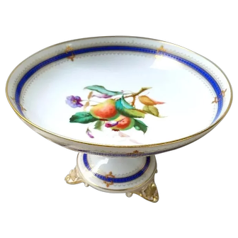 Porcelain Compote with Hand-Painted Fruit – Excellent Vintage Condition – Gilt Embellishment – Bolted Piece