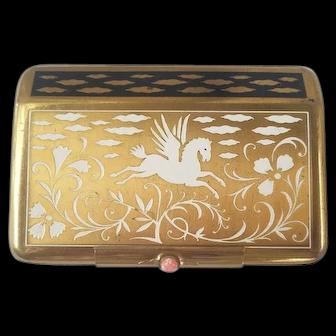 Pegasus Mid-Century Yardley, New York Compact/Vanity Case - Origial Powder, Rouge Lipstick, Perfume Bottle, Mirror
