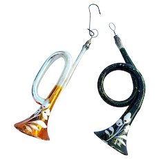 Mercury Glass Horn Ornaments Pair