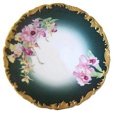 Limoges, France T & V Wild Orchids Fine China Plate - c. 1910