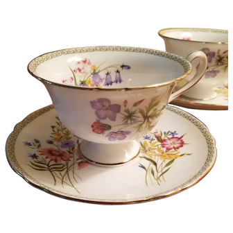 """Shelley English China Pair of """"Wildflowers"""" Pattern Cups and Saucers - c. 1950 - Excellent Vintage Condition"""