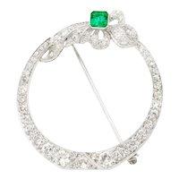 Art Deco Diamond, Emerald, Platinum (tested) Brooch, 2.80 cttw