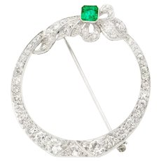 Art Deco Diamond, Emerald, Platinum (tested) Brooch, 2.80 cttw