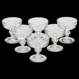 Six Vintage Steuben 7926 Pattern Champagne/Tall Sherbet Glasses