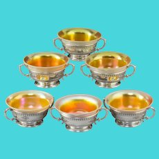 Six Dominick and Haff Sterling Silver and Iridescent Glass Windsor Pattern Dessert Bowls, New York, circa 1920