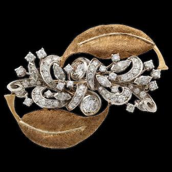 Diamond, Platinum & 14K Gold Brooch(Tested)