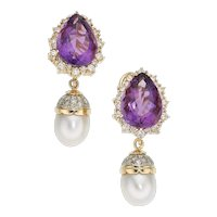 Diamond, Amethyst, Cultured Pearl, & 14K Gold(Tested)Earrings, 22.30 cttw