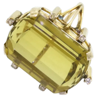 Jumbo 14K gold(Tested) 25.09 carat total weight VS diamond and citrine cocktail ring