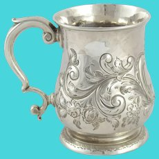 Superb antique Georgian George II sterling silver mug/tankard London 1745
