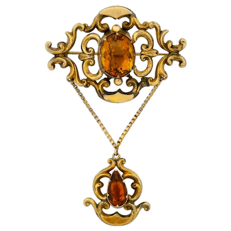 Antique Vintage Georgian 18k Gold(tested) Faceted Madeira Citrine L Pin Brooch(15.21 cttw)