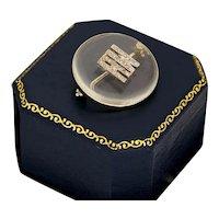 Art Deco 18k Gold(tested) .900 Platinum(tested) Pools of Light Diamond Signet Pin Brooch
