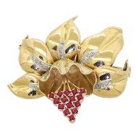 Vintage heavy 14K gold(Tested) 1.33CTTW diamond & Red gemstone cluster flower brooch.