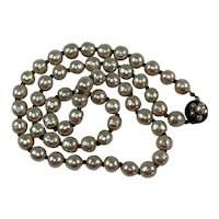 """Signed Vintage Miriam Haskell 22"""" Faux Pearl Strand Necklace"""