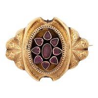 Antique Vintage Victorian 14k Rose Gold(tested) Memento Mori Almandine Garnet Pin Brooch