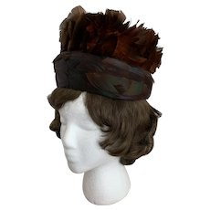 Feathered Pillbox, Vintage 1960s in Dark Brown, Russet, and Shades of Green