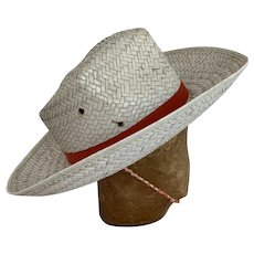Vintage Cowboy Hat 1950s Woven Straw with Chin Strap