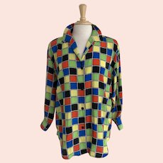 Martinique, Vintage 1980s Neon Checkerboard Blouse