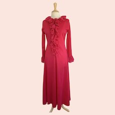 Sears at Home Wear Vintage 1970s Step in Robe Hot Pink, Ruffle Front