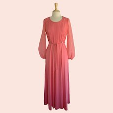 Salmon Perma Pleated Gown Vintage 1970s Knit and Chiffon with Rhinestone Accents  1970s