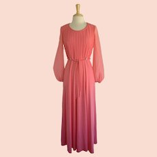 Vintage Pleated Gown 1970s Salmon Knit and Chiffon with Rhinestone Accents  1970s