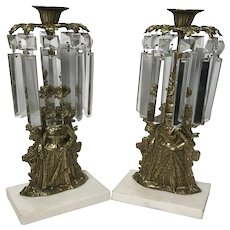 Antique Victorian Pair of Brass and Marble Girandole Candelabras with Cut Glass Prisms on Marble Base