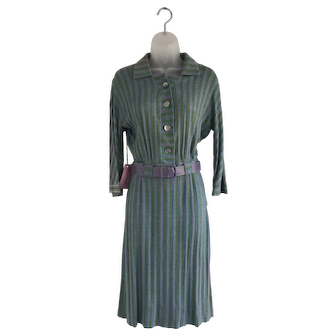 Vintage Marie Phillips 1940s Belted Two Piece Suit with Blue, Lavendar, and Green Stripes