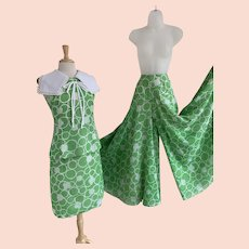 Miss Elliette Vintage 1970s Three Piece Palazzo Pants, Skirt, and Top