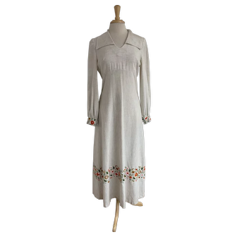 Embroidered Vintage 1970s Maxi Dress, Hand Made