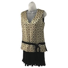 Arkay Vintage 1960s Mod Mini Dress Gold and Black Geometric Print Junior Size