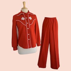 Vintage 1960s/70s JC Penney Red and White Western Style Lady's Leisure Suit