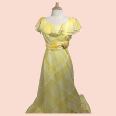 Vintage Yellow Plaid 1970s Bridesmaid Dress with Flounce Collar