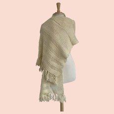 Cream 1970s Hairpin Knit Shawl
