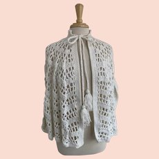 Chunky Crocheted Cape with Tassel Ties Vintage 1970s Creamy White