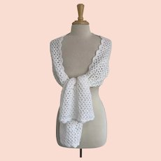 White Crocheted Shawl/Scarf Vintage 1970s