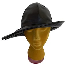 Vintage Original by Mr. C New York 1970s Black Vinyl Wide Brimmed Bucket Hat