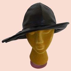 Vintage Original by Mr. C New York 1970s Black Vinyl Wide Brimmed Bucket Hat