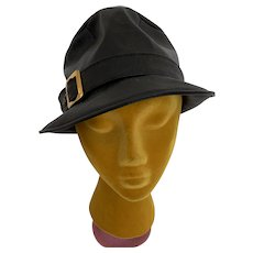 Vintage 1970s Faux Leather, Vinyl Fedora