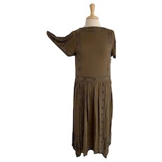 1920s Burnt Umber Drop Waist Dress with Black, Neoclassical Pattern Beading, Butterfly Sleeves