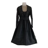 Early 1900s, Armistice Era Black Dress with Lace Insert