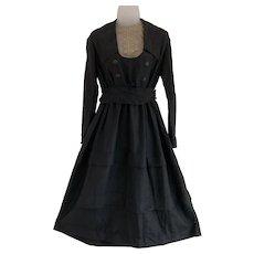 Early 1900s, Armistice Era Black Dress with Lace Insert