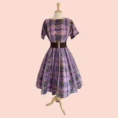 1950s Purple Grapevine Cocktail Dress