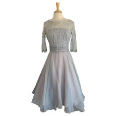 Vintage 1950s Lace and Iridescent Chiffon Prom Dress, Party Dress