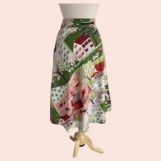1950s Novelty Print Quarter Circle Skirt