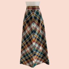 Vintage 1970s Plaid Wool A Line Maxi Skirt, New Old Stock