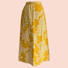 Vintage 1970s Nelly de Grab New York, New Old Stock Yellow Floral Print Maxi Skirt