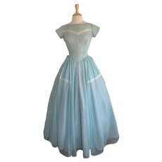 Vintage 1950s Prom Dress Sheer, Robin's Egg Blue with Lace Detail