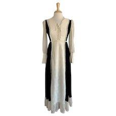 1970s Vicky Vaughn Jr Boho Maxi Dress