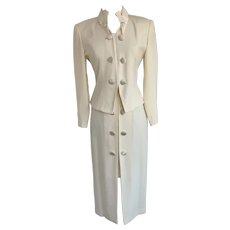 Heiser Egan Vintage 1990s Cream 2 Piece Formal Suit