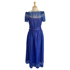 JC Penney's Vintage 1980s Royal Blue Prom Dress